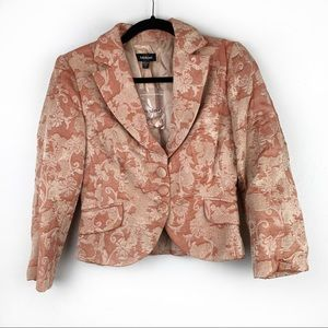 BEBE Peach Orange Damask Print Blazer Cropped NWOT